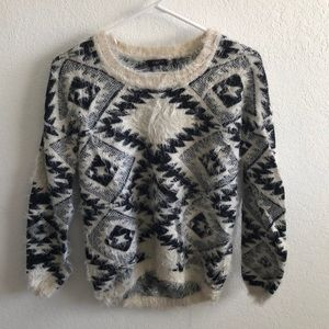 Fuzzy Printed Sweater